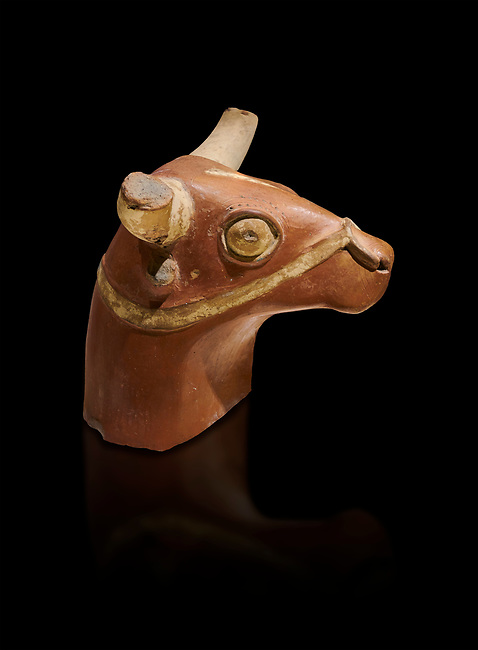 Hittite terra cotta bull head - 17th -16th century BC- Hattusa ( Bogazkoy ) - Museum of Anatolian Civilisations, Ankara, Turkey . Against black background