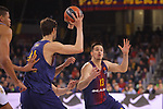 Turkish Airlines Euroleague 2017/2018.<br /> Regular Season - Round 23.<br /> FC Barcelona Lassa vs R. Madrid: 74-101.<br /> Ante Tomic &amp; Thomas Heurtel.