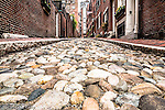 Cobblestones on Acorn Street on Beacon Hill, Boston, Massachusetts, USA