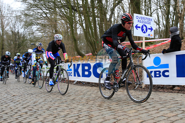 Riders including Michael Schar (BMC Racing Team) climb Kemmelberg for the first time during the 75th edition of Gent-Wevelgem, Belgium, 24th  March 2013 (Photo by Eoin Clarke 2013)