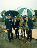 Minister for Justice John O'Donoghue turns the first sod on the National Events Centre which will be built at the  Gleneagle Hotel, Killarney yesterday watched by from left, Maurice O'Donoghue, Developer, Senator Paul Coghlan and Jackie Healy-Rae, TD.<br />