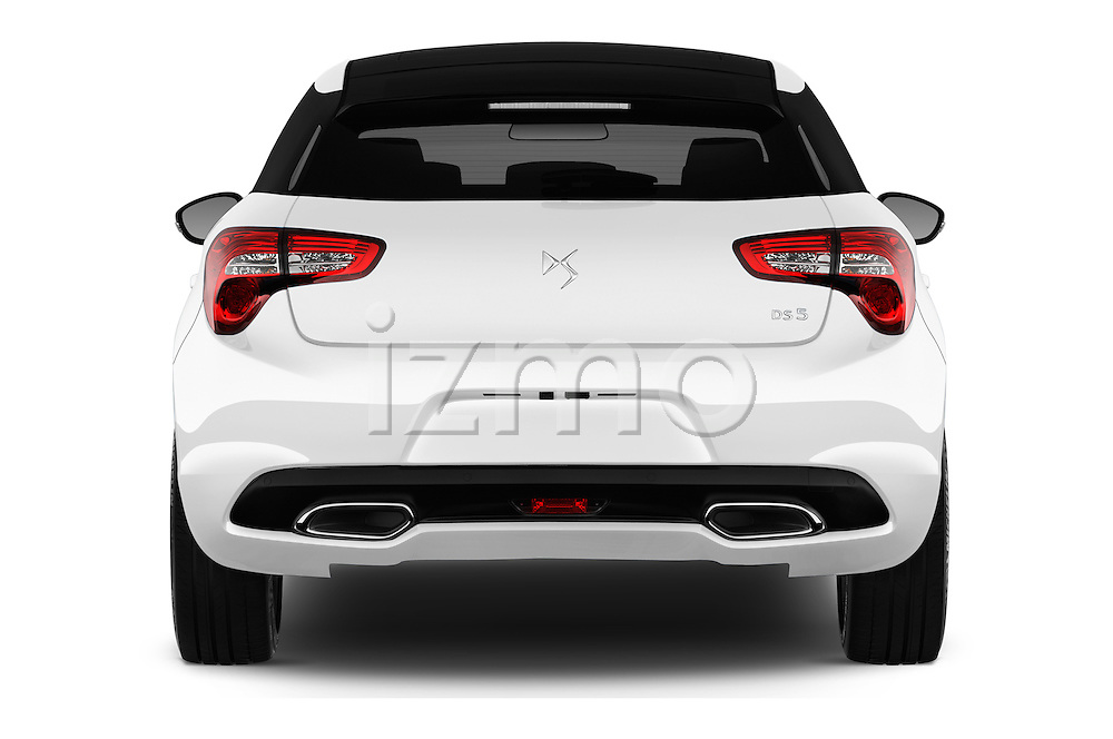 Straight rear view of 2016 Citroen DS5 Sport Chic 5 Door Hatchback Rear View  stock images