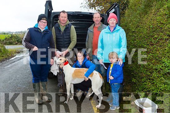 At the Abbeydorney Coursing on Monday were Jimmy Dillane, William Costello, Marie Costello, Maurice Costello, Ann Costello and Brendan Costello with Candle Lite