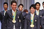 (L-R) Kosuke Hagino, Kohei Uchimura (JPN), <br /> AUGUST 24, 2016 : <br /> Japan Delegation attend a press conference after arriving in Tokyo, Japan.<br /> Japan won 12 gold medals, 8 silver medals, and 21 bronze medals during the Rio 2016 Olympic Games.<br /> (Photo by Sho Tamura/AFLO SPORT)