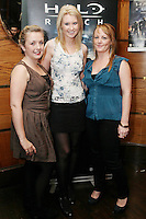 NO REPRO FEE. 14/9/2010. launch of Halo: Reach. Pictured at the Odeon Dublin for the launch of Halo: Reach are Claire Murphy, Lorraine Nolan and Lorraine Flood .Halo: Reach tells the tragic and heroic story of Noble Team, a group of Spartans, who through great sacrifice and courage, saved countless lives in the face of impossible odds. Picture James Horan/Collins Photos