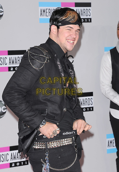 James Durbin.2011 American Music Awards - Arrivals held at Nokia Theatre LA Live, Los Angeles, California, USA..November 20th, 2011.ama amas ama's half length black jacket ellen waistband underwear side funny bandana .CAP/RKE/DVS .©DVS/RockinExposures/Capital Pictures.