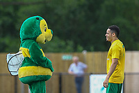 The Horsham mascot has a chat with one of the Horsham players during Horsham vs Hartley Wintney, Friendly Match Football at Hop Oast on 13th July 2019
