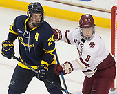 Hampus Gustafsson (Merrimack - 20), Jesper Mattila (BC - 8) - The visiting Merrimack College Warriors defeated the Boston College Eagles 6 - 3 (EN) on Friday, February 10, 2017, at Kelley Rink in Conte Forum in Chestnut Hill, Massachusetts.