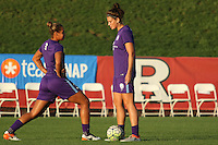 Piscataway, NJ - Wednesday Sept. 07, 2016: Toni Pressley, Sarah Hagen prior to a regular season National Women's Soccer League (NWSL) match between Sky Blue FC and the Orlando Pride FC at Yurcak Field.