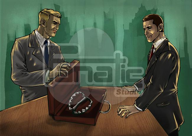Illustrative image of businessman showing product to partner representing false advertisement