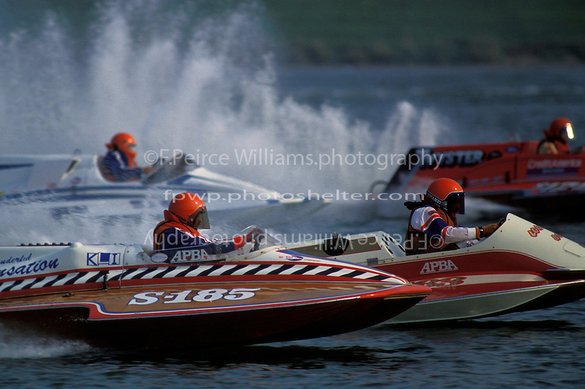 """S-185 """"Wonderful Sensation"""", Robert Weaver S-563 """"The Lobster Boat"""", Joe Kreitzer, S-67 """"Impossible Dream"""" and S-128 """"Twyster""""  (2.5 Litre Stock hydroplane(s) Dayton, Oh 1990"""