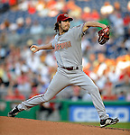 10 July 2008: Arizona Diamondbacks' starting pitcher Dan Haren in action against the Washington Nationals at Nationals Park in Washington, DC. The Diamondbacks defeated the Nationals 7-5 in 11 innings to take the rubber match of their 3-game series in the Nation's Capitol...Mandatory Photo Credit: Ed Wolfstein Photo
