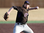 SIOUX FALLS, SD - APRIL 3:  Noah Coleman #21 from the University of Sioux Falls delivers a pitch against Augustana College in the second game of their doubleheader Wednesday afternoon at Karras Park.  (Photo by Dave Eggen/Inertia)