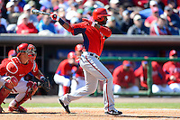 Washington Nationals outfielder Denard Span #2 during a Spring Training game against the Philadelphia Phillies at Bright House Field on March 6, 2013 in Clearwater, Florida.  Philadelphia defeated Washington 6-3.  (Mike Janes/Four Seam Images)