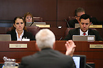 Nevada Assembly members Shelly Shelton and Stephen Silberkraus work in committee at the Legislative Building in Carson City, Nev., on Wednesday, April 22, 2015. <br /> Photo by Cathleen Allison