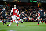 Alexandre Lacazette of Arsenal scoring his 2nd goal during the UEFA Europa League Quarter-Final 1st leg match at the Emirates Stadium, London. Picture date 5th April 2018. Picture credit should read: Charlie Forgham-Bailey/Sportimage