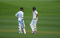 Wellington's Devon Conway and Rachin Ravindra during day two of the Plunket Shield cricket match between the Wellington Firebirds and Otago Volts at the Basin Reserve in Wellington, New Zealand on Tuesday, 22 October 2019. Photo: Dave Lintott / lintottphoto.co.nz