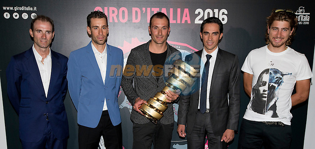 UCI leading points rider Alejandro Valverde (ESP), Vincenzo Nibali (ITA), Ivan Basso (ITA), defending Giro Champion Alberto Contador (ESP) and newly crowned World Champion Peter Sagan (SVK)  at the Giro d'Italia 2016 Presentation held at Expo Milano, Milan, Italy. 5th October 2015.<br /> Picture: ANSA/Claudio Peri | Newsfile