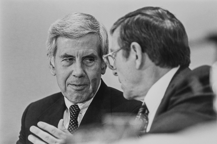 Sen. Richard Lugar, R-Ind., and Sen. Pete Domenici, R-N.M., at the Joint Congress Committee Hearing, in February 1993. (Photo by Laura Patterson/CQ Roll Call via Getty Images)