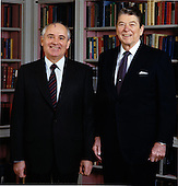 United States President Ronald Reagan and General Secretary of the Communist Party of the Soviet Union Mikhail Sergeyevich Gorbachev pose for a portrait in the Library on Tuesday, December 8, 1987..Mandatory Credit: Bill Fitz-Patrick - White House via CNP