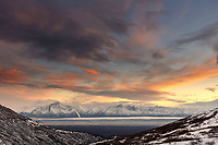 Winter landscape of clouds over Chugach Mountains including Pioneer Peak and Twin Peaks during sunset<br /> <br /> Photo by Jeff Schultz/SchultzPhoto.com  (C) 2018  ALL RIGHTS RESERVED