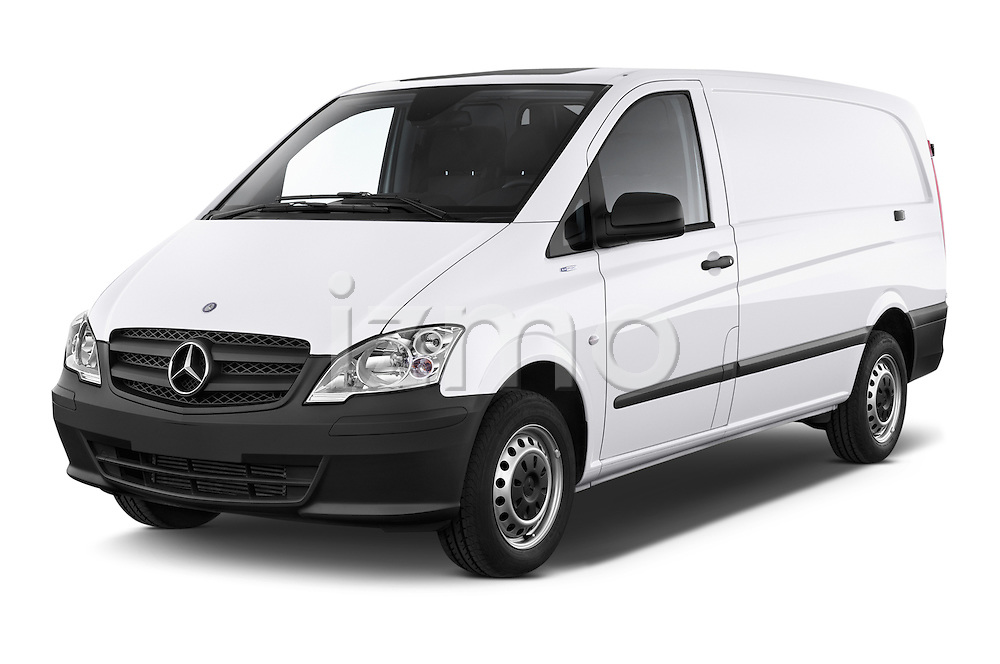 2013 Mercedes Benz Vito 113CDi SWB Long 4 Door Cargo Van 2WD Angular Front stock photos of front three quarter view
