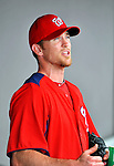 10 March 2012: Washington Nationals' pitcher Brad Lidge chats in the dugout during a Spring Training game against the New York Mets at Space Coast Stadium in Viera, Florida. The Nationals defeated the Mets 8-2 in Grapefruit League play. Mandatory Credit: Ed Wolfstein Photo