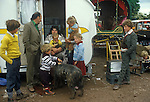 Gypsy family chldren and their caravan. Appleby in Westmorland Cumbria UK
