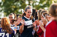 Sky Blue FC midfielder Katy Freels (Frierson) (17) greets fans prior to playing the Washington Spirit. Sky Blue FC defeated the Washington Spirit 1-0 during a National Women's Soccer League (NWSL) match at Yurcak Field in Piscataway, NJ, on August 3, 2013.