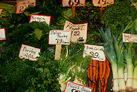 Farmers' market with prices