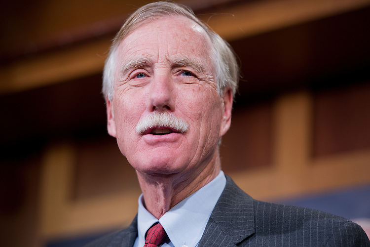 UNITED STATES - JANUARY 14: Sen. Angus King, I-Me., speaks during a news conference in the Capitol to announce the newly formed Senate Climate Change Task Force. (Photo By Tom Williams/CQ Roll Call)