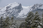 snow on Hallett Peak, spring, Rocky Mountain National Park, May, Colorado, USA