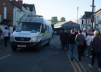 Police make their way through the crowd of fans before the Sky Bet Championship match between Nottingham Forest and Millwall at the City Ground, Nottingham, England on 4 August 2017. Photo by James Williamson / PRiME Media Images.
