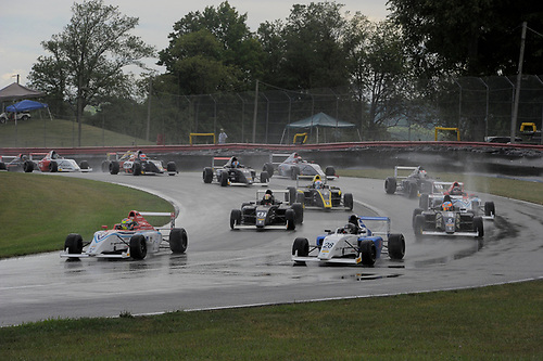 11-14 August, 2016, Lexington, Ohio USA<br /> #34 Austin Kaszuba & #28 Cameron Das lead field to rolling start on rain soaked track<br /> ©2016 Dan R. Boyd<br /> LAT Photo USA