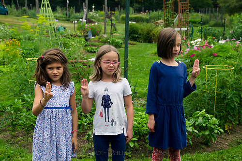 Girl scouts come to the garden, Yarmouth Maine, USA