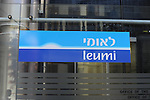 The logo of Bank Leumi, at the headquarters building in Tel Aviv, Israel.<br />