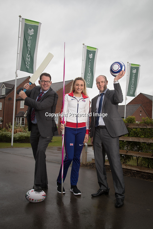 ***Free photo for editorial print and on-line use***<br /> <br /> 15/05/17<br /> <br /> UK Pentathlon athlete Niamh Emerson joins with Persimmon Homes regional managers, Liam Scott and Neil Follows, to mark the launch of the company's  &lsquo;Healthy Communities&rsquo; scheme, where they will donate &pound;500 every month to local sports club to encourage kids to get into sport and as a way to give back to communities in which they build. Photographed at Persimmon Homes new development Buttercup Leys, at Boulton Moor<br /> Derby.<br /> <br /> <br /> <br /> <br /> All Rights Reserved: F Stop Press Ltd. +44(0)1773 550665  www.fstoppress.com.