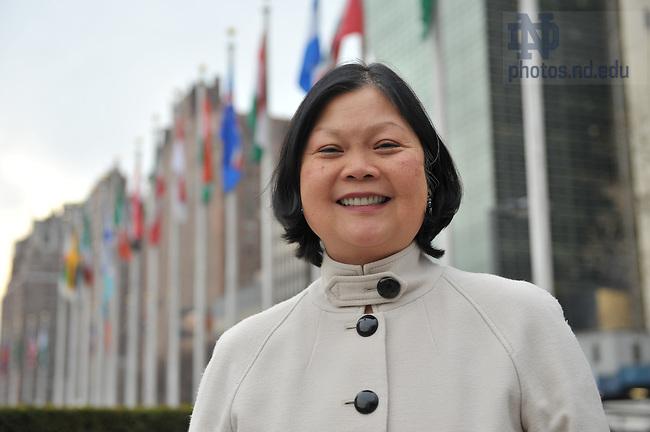 Dean Carolyn Woo outside United Nations headquarters, New York City..Photo by Matt Cashore/University of Notre Dame