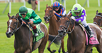 ELMONT, NY - JULY 08: New Money Honey #8, ridden by Javier Castellano, wins the Belmont Oaks Invitational on Stars and Stripes Festival Day at Belmont Park on July 8, 2017 in Elmont, New York (Photo by Scott Serio/Eclipse Sportswire/Getty Images)