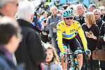 Race leader Yellow Jersey Luis Leon Sanchez (ESP) Astana Pro Team arrives at sign on before the start of Stage 5  running 165km from Salon-de-Provence to Sisteron, France. 8th March 2018.<br /> Picture: ASO/Alex Broadway | Cyclefile<br /> <br /> <br /> All photos usage must carry mandatory copyright credit (&copy; Cyclefile | ASO/Alex Broadway)