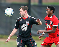 Stephen King (7) of D.C. United in action against London Woodbury (22)  during a scrimmage against the University of Maryland at Ludwig Field, University of Maryland, College Park, on April  10 2011. D.C. United won 1-0.