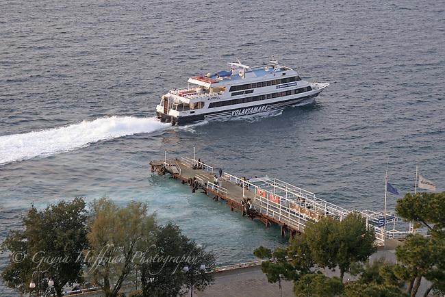 Volaviamare ferry leaving the dock of Sorrento, Italy