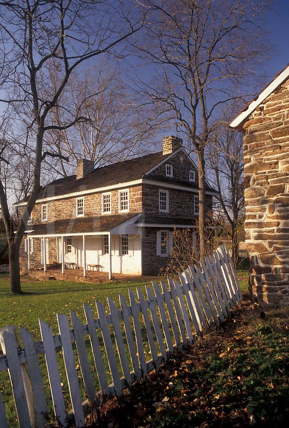 AJ3268, Daniel Boone Birthplace, Pennsylvania, Stone house at Daniel Boone Homestead in Birdsboro in the state of Pennsylvania.