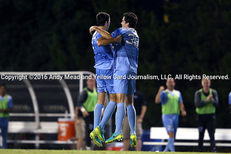 16 September 2016: North Carolina's Walker Hume (left) celebrates his goal with his identical twin brother Tucker Hume (right). The University of North Carolina Tar Heels hosted the University of Pittsburgh Panthers in Chapel Hill, North Carolina in a 2016 NCAA Division I Men's Soccer match. UNC won the game 1-0.