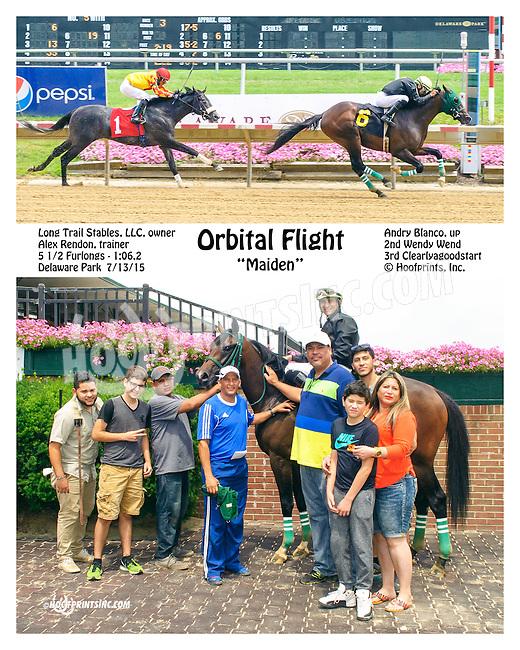 Orbital Flight winning at Delaware Park on 7/13/15