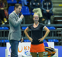 Rotterdam, Netherlands, December 19, 2015,  Topsport Centrum, Lotto NK Tennis, Richel Hogenkamp (NED) with speaker Alex Nelissen<br /> Photo: Tennisimages/Henk Koster