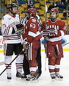 Josh Manson (Northeastern - 3),Colin Blackwell (Harvard - 63), Luke Greiner (Harvard - 26) - The Harvard University Crimson defeated the Northeastern University Huskies 3-2 in the 2012 Beanpot consolation game on Monday, February 13, 2012, at TD Garden in Boston, Massachusetts.