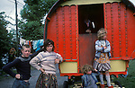 Irish Travellers   family southern Ireland with traditional horse drawn caravan.  Eire. 1970s.