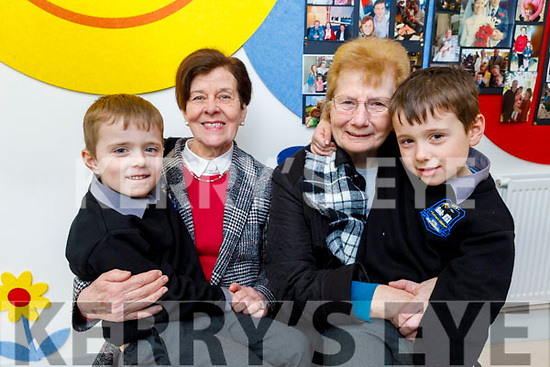 Liam and Dermot Stack with their grandparents Joanne Stack and Nora Walsh at the Grandparents Day in Scoil Nuachabháil on Friday.
