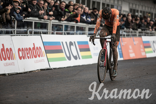 Not the race he was hoping for... Mathieu van der Poel (NED/Beobank-Corendon) finishes (only) 3rd after having dominated the rest of the season<br /> <br /> Men Elite Race<br /> UCI CX Worlds 2018<br /> Valkenburg - The Netherlands